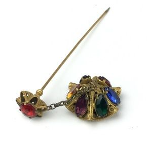 Vintage Stick Hat Pin Filigree Multi Color Stones